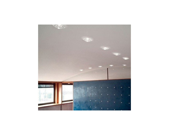 Sun Ceiling Lamp By Leucos Lighting - Leucos recessed fixtures Sun a semi-recessed, low-voltage fixture providing downward light through a poured glass diffuser available in crystal or satin white glass with a clear tip.