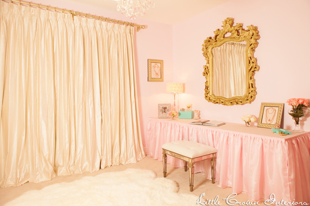 Ivory and Pink Glamorous Girl's Nursery traditional-kids
