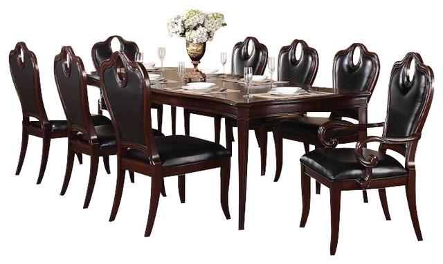 Homelegance Agatha 10 Piece Extension Dining Room Set In Rich Cherry Tradit