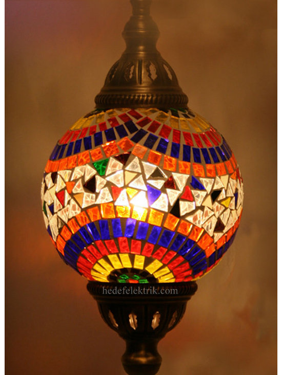 Turkish Style Mosaic Authentic Pendant Lamp 13 cm - Mosaic lamps are made of original colour of glasses. When the lamp is lit, the glasses cause colorful shades, which can suddenly change the ambiance of a room by its inspiring view. Noe of the glasses are painted nor applied a transaction. Each parts of the lamp are handmade.