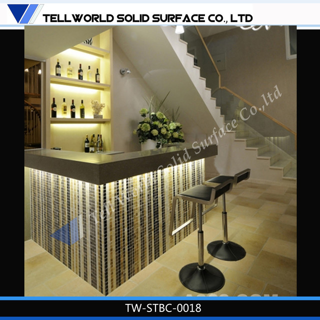 Modern elegant acrylic bar counter led lighted home wine for Mini bar counter for home