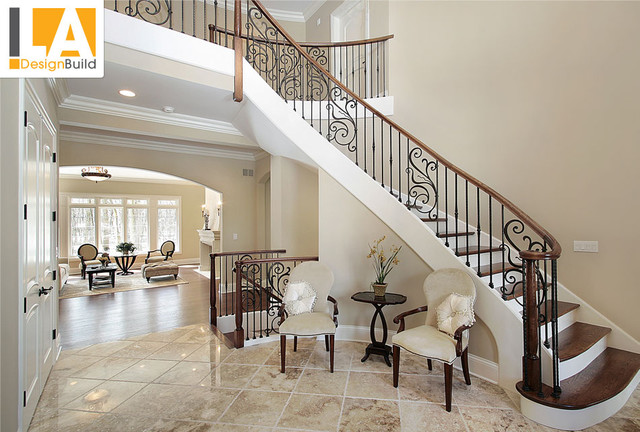 Living room mediterranean staircase los angeles by New build living room designs