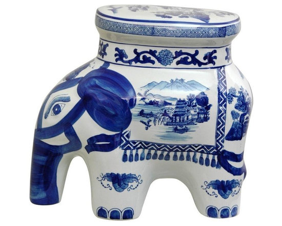 "Oriental Furniture - 14"" Landscape Blue and White Porcelain Elephant Stool - Crafted from high quality vitreous porcelain ceramic in the shape of an elephant, traditionally symbols of luck. Painted with a finely-detailed oriental landscape alongside eyes, ear, trunk and tapestry detail. Great small stool, side table, drink or plant stand."