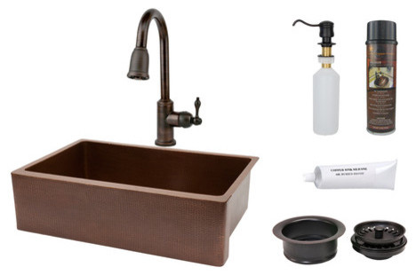 Antique Hammered Apron Single Basin Kitchen Sink with ORB Pull Down Faucet, Drai modern-bath-products