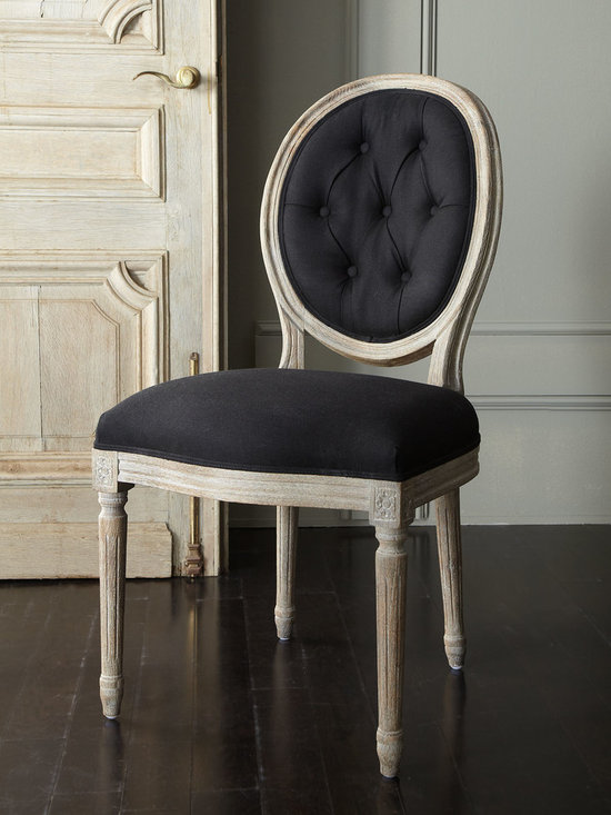"""Two Black Linen Chairs - Elegantly simply best describes these dining chairs. Chairs have oak frames and black cotton/linen upholstery. 20""""W x 26""""D x 39""""T."""