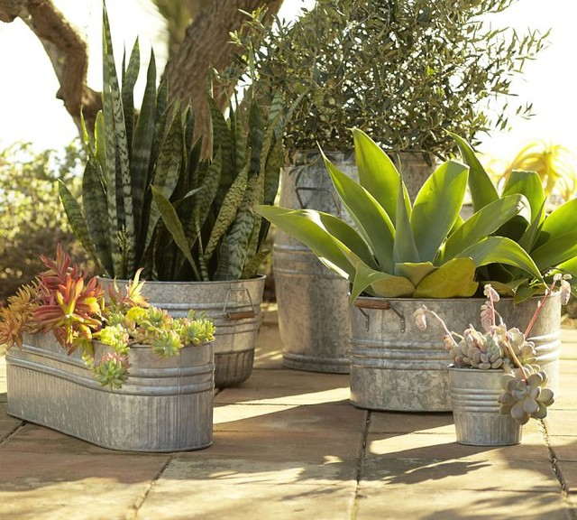 Eclectic Galvanized Metal Planters eclectic outdoor decor