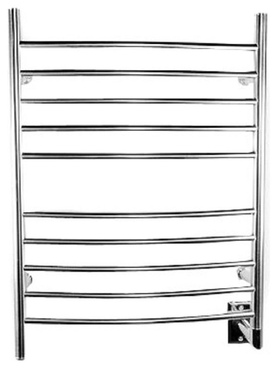 Amba - Radiant Hardwired Curved Electric Heated Towel Warmer, Brushed Chrome - Easy Installation -  all mounting hardware is included in the price.