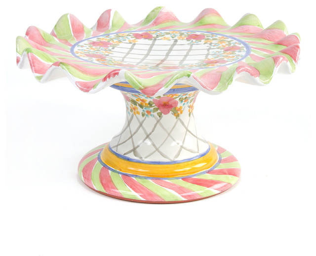 Taylor Fluted Cake Stand - Glen Park | MacKenzie-Childs eclectic-serving-utensils