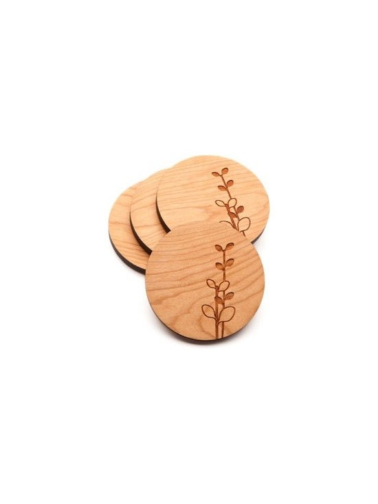 Beehive Laurel Coaster Set - The set of four Laurel Coaster's by Beehive are made from Cherry wood and engraved with the popular Laurel motif.