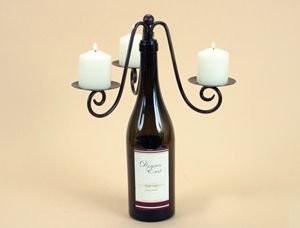 Triple Pillar Votive Wine Bottle Stopper Candelabra, Candle Holder for Three Vot traditional-candleholders