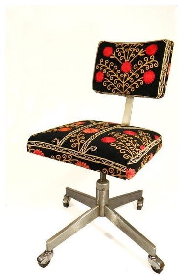 Suzani Office Chair Blooming Pomegranate Tree by MaterialRecovery office-chairs