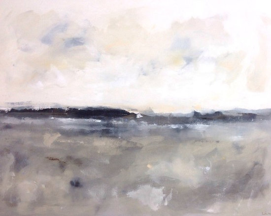 """Linda Donohue - Large Grey Abstract Seascape - Winter Sea 48 x 36 - This is an original acylic painting on gallery wrapped canvas. The sides are painted a sand color from the front and it's ready to hang as it is or be put into a frame. It measures 48 x 36"""" x 1 1/2""""d and is inspired by the beautiful San Francisco Bay Area where I live."""