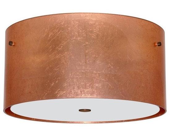 Besa Lighting 1KM-4008CF-BR Three Light Bronze Drum Shade Flush Mount -