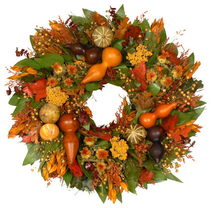 Gourd Fall Wreath contemporary-holiday-outdoor-decorations