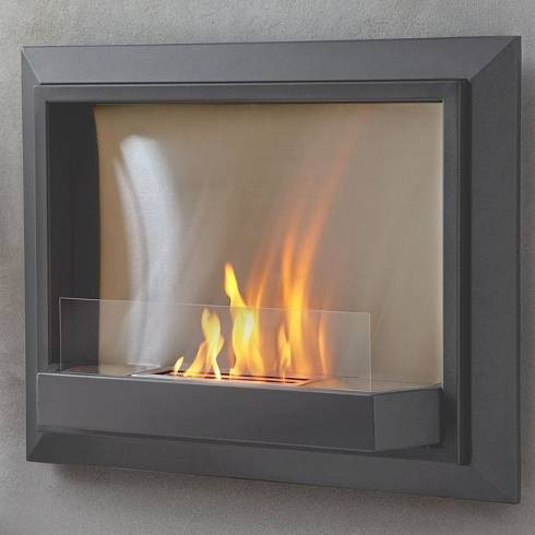 Real flame grey envision wall ventless fireplace modern for Contemporary ventless gas fireplaces