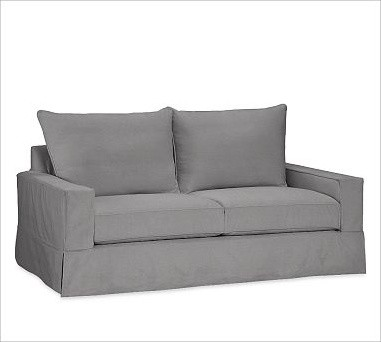 PB Comfort Square Sofa with Knife-Edge Cushion Slipcover, Everydaysuede Metal Gr traditional-sofas