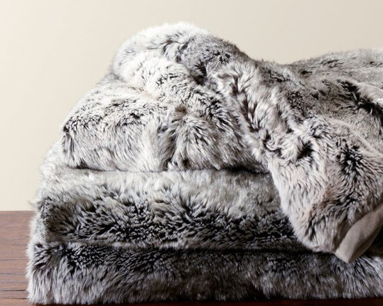 Faux Fur Throw, Gray Ombré -