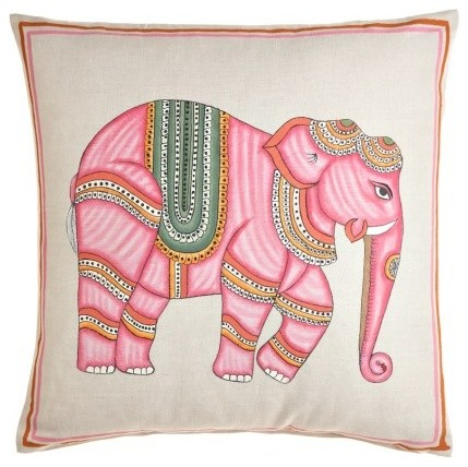 Pink Elephant Hand Painted Pillow Eclectic Decorative