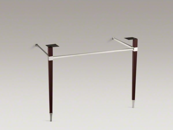 KOHLER Kathryn(R) square tapered Brushed Nickel brass table legs with leather wr contemporary-console-tables