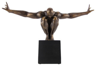 Bronze Finish Nude Male on Platform Outstretched Arms traditional-sculptures