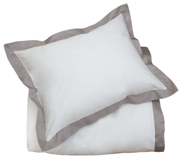 400 Thead Count Classic Hotel-Inspired Border Duvet, The Linden Gray contemporary duvet covers