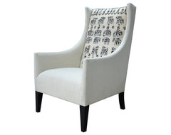 Vintage Suzani Print Black Grey Modern Rustic Arm Chair eclectic-armchairs