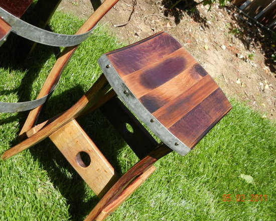 Wine Barrel Barstools (No Back) - These barstools are hand crafted out of retired wine barrels from local wineries in the Lodi Appalation.  Each One of A Kind piece can be custom made to any height desired 20'' - 33''.