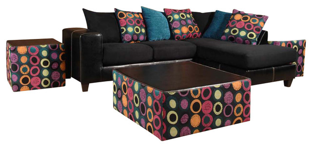 Chelsea Home 3 Piece Living Room Set Serria Black Hollywood Fuschia Eaton Teal Traditional