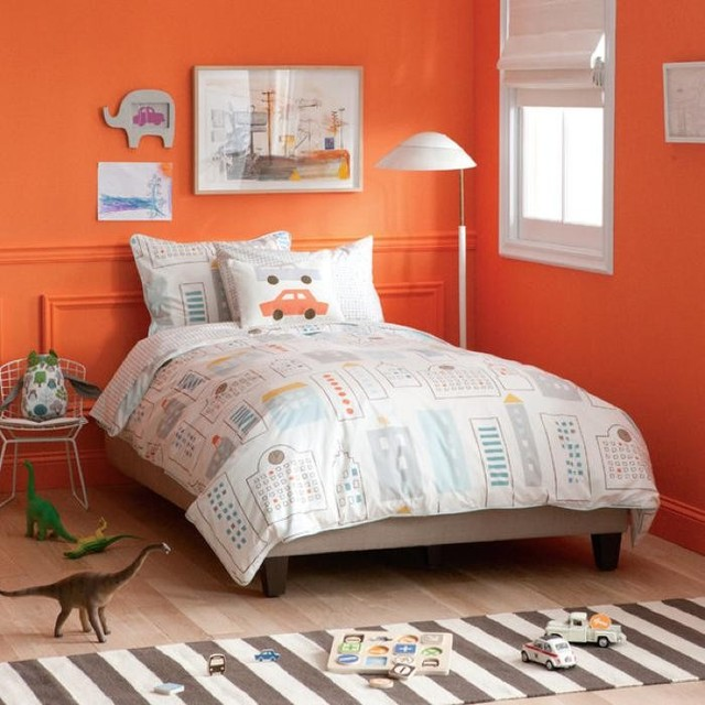 Dwellstudio skyline duvet set modern kids bedding portland by fawn forest for Cityscape bedroom furniture collection