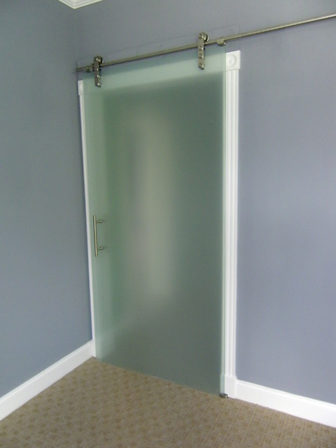 Frameless glass barn doors laguna series eclectic for Frosted glass barn door