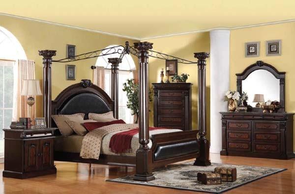 Acme Furniture Roman Empire Cherry Finish 5 Piece King Bedroom Set 19326C