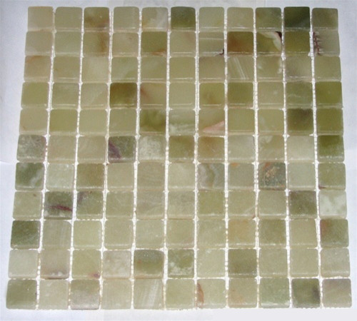 Light Green Tumbled Square Pattern Mesh-Mounted Onyx Tiles modern-wall-and-floor-tile