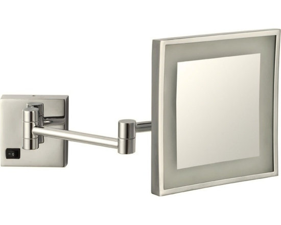 Nameeks - Wall Mounted 3x Lighted Makeup Mirror, Satin Nickel - This 8 inch magnifying makeup mirror mounts to your bathroom wall.