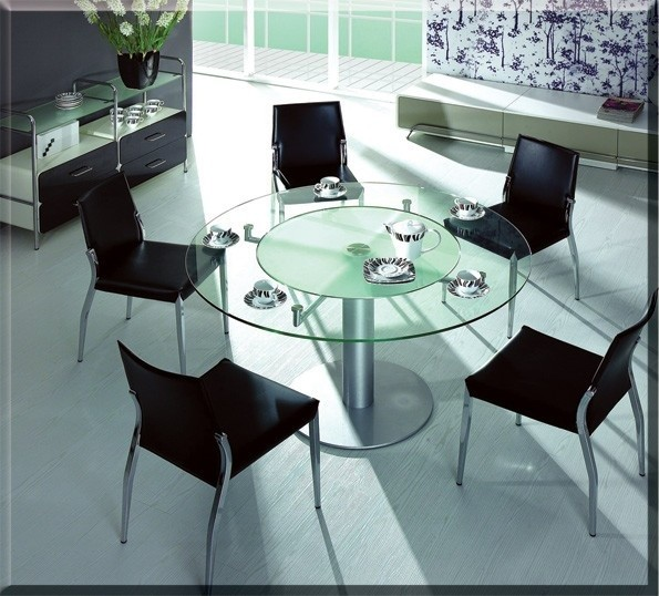 CT50 Modern Glass Round Dining Table modern-dining-tables