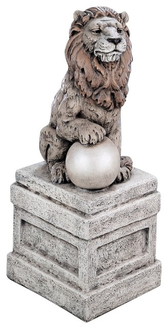 Rustic - Lodge Castle Lion on Base Right Facing Garden Accent traditional-garden-sculptures