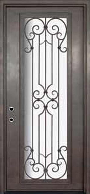 Milano 42x96 wrought iron single door 14 gauge steel for 14 gauge steel door