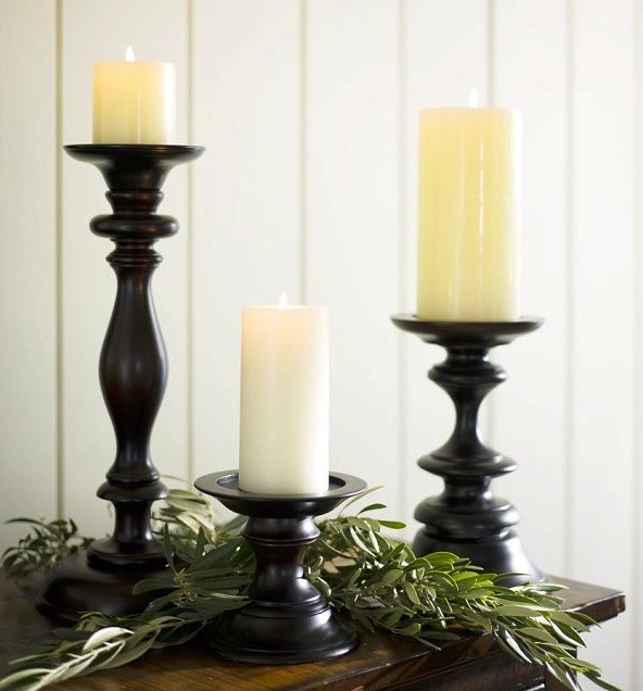 Turned Wood Pillar Holders traditional-candles-and-candleholders
