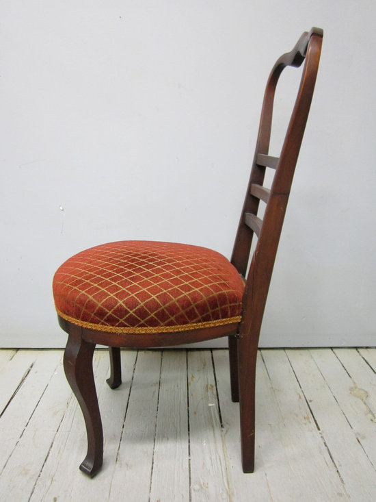reupholstery & restoration: chair 1 - 'before' - side view