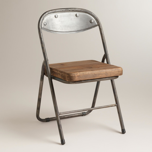 Wood and Metal Colton Folding Chairs Eclectic Folding