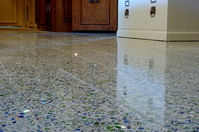 Recycled glass tile flooring