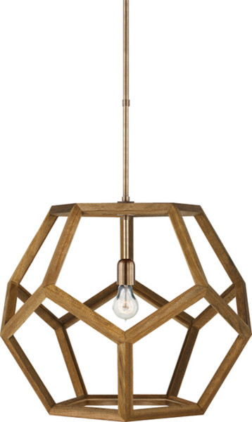Large Dustin Dodecahedron Wood Pendant - modern - pendant lighting ...