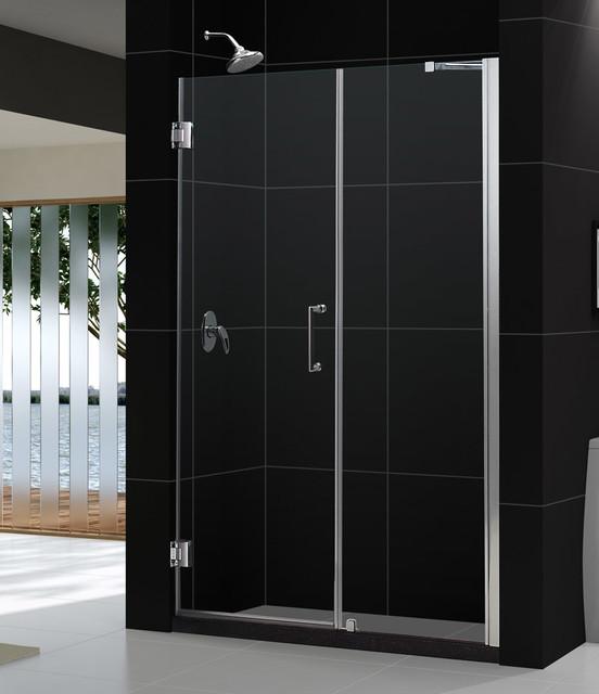 """UNIDOOR Frameless 59-60"""" Adjustable Shower Door Brushed Nickel modern-showerheads-and-body-sprays"""