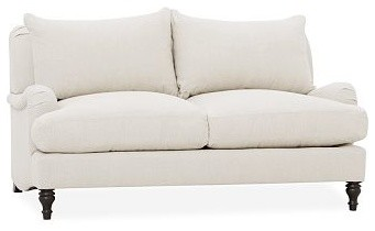 Carlisle Upholstered Love Seat, Down-Blend Wrap Cushions, Washed Linen-Cotton Wh traditional-chairs