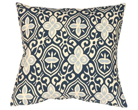 """Pillow Decor - Pillow Decor - Alhambra Handprint Indigo 15"""" Throw Pillow - Inspired by Moorish tile and stamped tin ceilings with geometry that feels new and old at the same time, this 100% cotton pillow is something to admire. The pillow shows off a traditional textile technique of India and the gentle curves and the running pattern makes this pillow feminine and luxurious."""