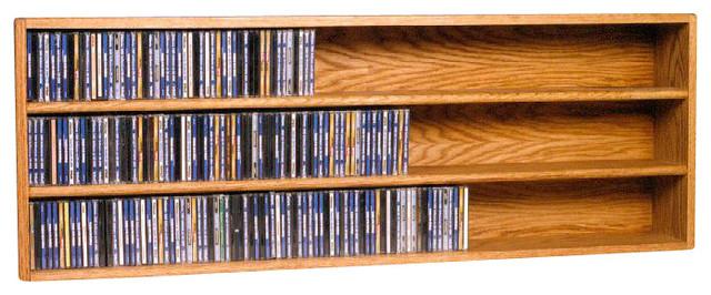 Solid Oak Wall or Shelf Mount CD Cabinet modern-media-racks-and-towers
