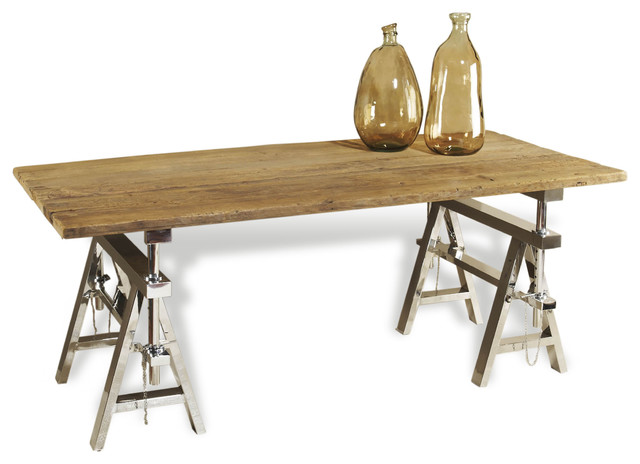 Hatcher Modern Rustic Reclaimed Wood Polished Silver Sawhorse Table transitional-desks-and-hutches