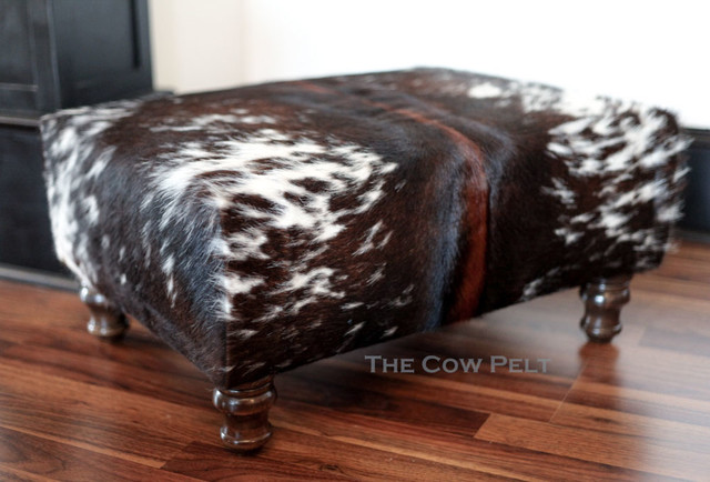Handcrafted Cowhide Ottoman Dark Rich Brown And White