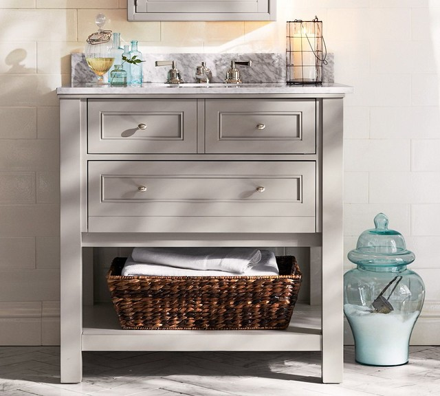 Classic Single Sink Console Gray With Chrome Finish Traditional Bathroom