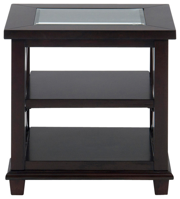 jofran panama rectangle end table with 2 shelves and glass. Black Bedroom Furniture Sets. Home Design Ideas