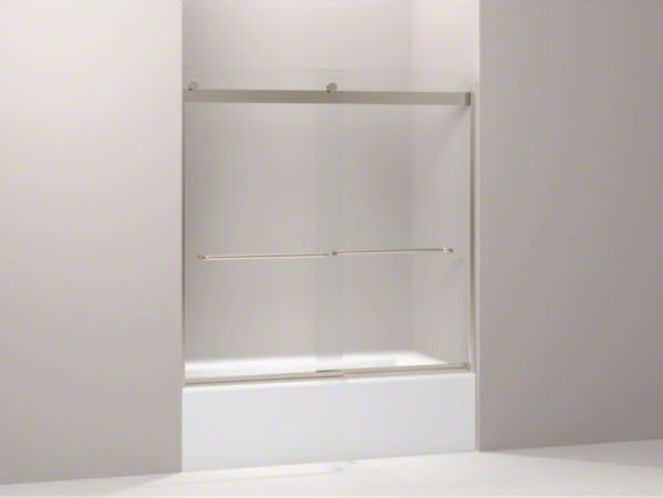 "KOHLER Levity(R) sliding bath door, 59-3/4"" H x 54 - 57"" W, with 1/4"" thick Fros contemporary-bath-products"